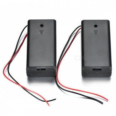 BLCR 2xAA Battery Holder Case Storage Box with Wires and Switch