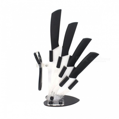 "Ceramic Kitchen Knife Set Premium 3"" 4"" 5"" 6"" Inch Knife with Peeler and Knife Holder"