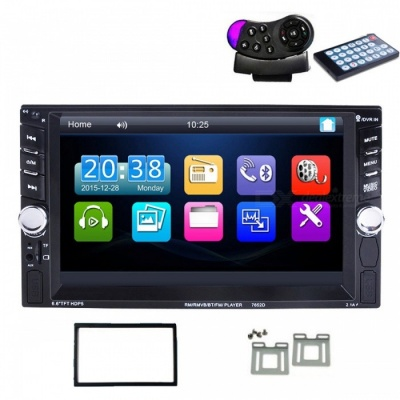 New 2 Din 6.6'' LCD Touch Screen Car Bluetooth Stereo Auto Radio Player (No Camera)