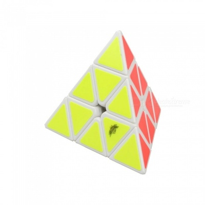 Cyclone Boys 100mm Pyraminx Smooth Speed Magic Cube Puzzle Toy for Kids - White