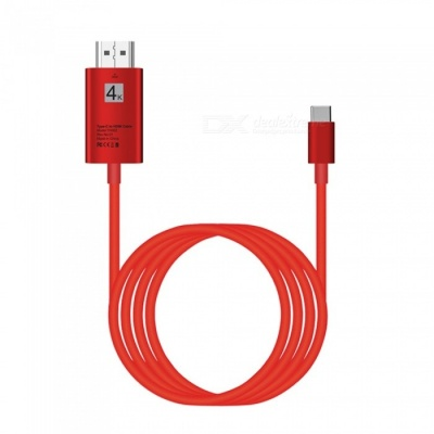 2m USB 3.1 Type-C USB-C to HDMI 4K 30Hz HD Cable Converter - Red