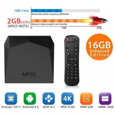 M92S Amlogic S912 Octa-Core Android 7.1 TV BOX with 2GB RAM, 16GB ROM (US Plug)