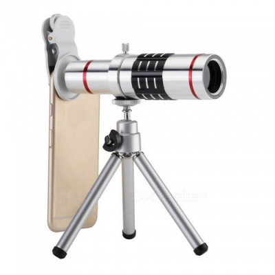Universal Mobile Phone 18X Telescope Camera Lens with Tripod - Silver