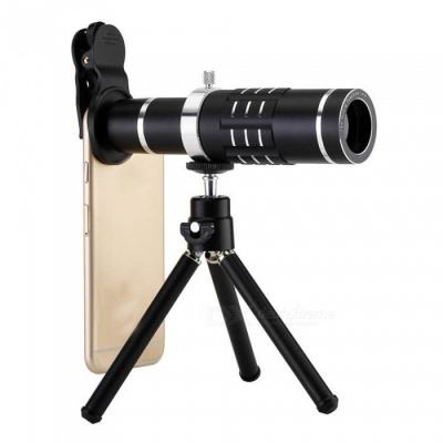 Universal Mobile Phone 18X Telescope Camera Lens with Tripod - Black
