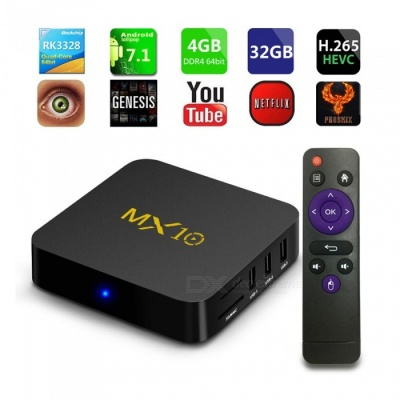 MX10 Android 7.1 Smart TV Box Rockchip RK3328 Quad-core 4GB RAM 32 ROM KODI 2.4GHz Wi-Fi Set Top Box - EU Plug
