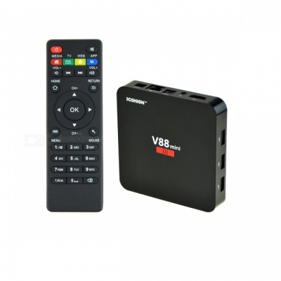 V88 Mini III Smart TV Box Android 6.0 Quad-Core Bluetooth 4.0 Wi-Fi Set Top Box 4K Media Player with 2GB RAM 8GB ROM