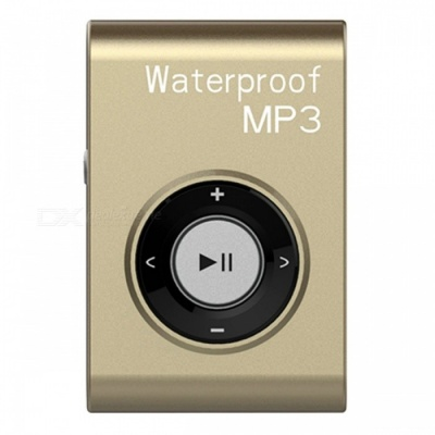KELIMA Sports Waterproof Clip-on Lossless Music MP3 Player with Earphones - Golden (4GB)