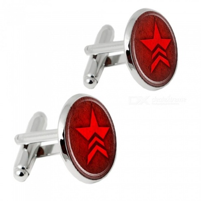 Alloy Red Five Star Pattern Men's Cufflinks - Silver + Red (1 Pair)