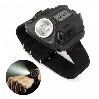 Portable 3-Mode Wrist Watch Type LED Flashlight - Black