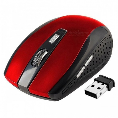 Centechia 2.4GHz Wireless Optical Mouse with USB 2.0 Receiver for PC Laptop - Black + Red