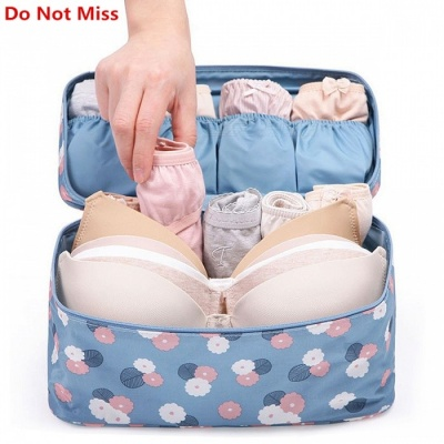 Travel Bra Underwear Lingerie Makeup Toiletries Organizer Storage Bag  - Blue