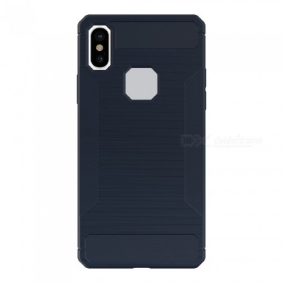 Mini Smile Protective Wire Drawing Carbon Fiber + TPU Back Case Anti-Slip Cover for IPHONE X - Navy