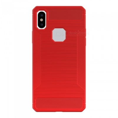 Mini Smile Protective Wire Drawing Carbon Fiber + TPU Back Case Anti-Slip Cover for IPHONE X - Red