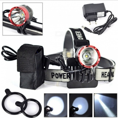 SPO T6 Rechargeable 3-Mode Bike Lamp Headlight for Night Cycling - Black, Blue