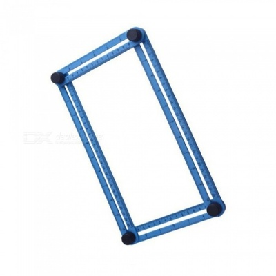 "Multifuction Foldable Movable Activities Metric Inch Scale Measuring Angle Ruler - Blue (25CM / 9.8"")"