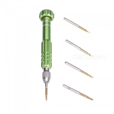 5-in-1 Precision Mini Magnetic Screwdriver Torx Repair Tool Kit Set with Five Replacement Tips Heads - Green