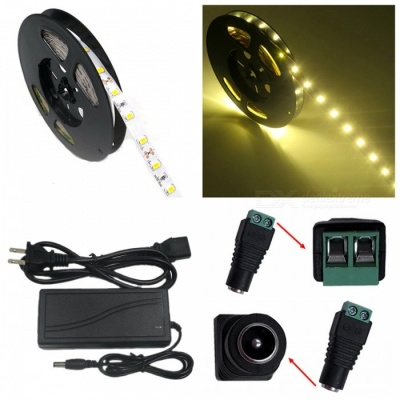 ZHAOYAO 72W Warm White 5630 SMD 300-LED Strip Light with 5A US Power Charger + DC Adapter - 5M