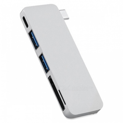Cwxuan USB 3.1 Type-C to USB Hub, TF SD Card Reader w/ Charging Port - Silver