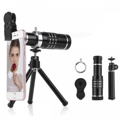 Universal 3-in-1 Mobile Phone 18X Long-Focus Wide-Angle Macro Telescope Camera Lens with Tripod - Black
