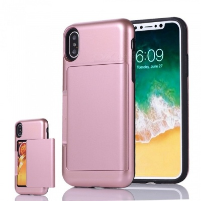 Mini Smile Premium PC + TPU Protective Case w/ Card Slot for IPHONE X - Rose Gold