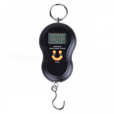 BLCR 45Kg /10g Portable Hanging Hook Digital Scale Electronic Weight with LCD BackLight Display - Black
