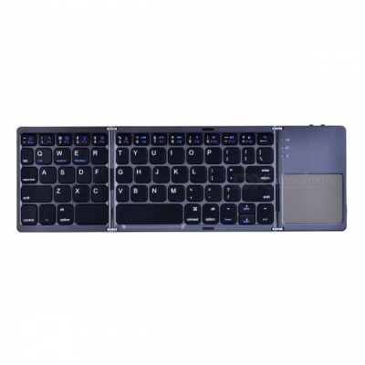 AVATTO A18 Portable Twice Folding Bluetooth BT Wireless Keyboard Touchpad for IOS, Android, Windows, IPAD, Tablet - Black