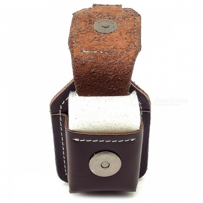 Leather Lighter Holster with Buckle Design - Coffee