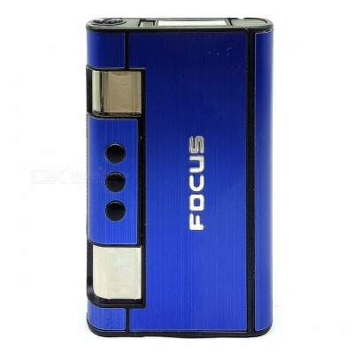 2-in-1 Creative Gas Inflatable Windproof Cigarette Lighter with Cigarette Case - Blue