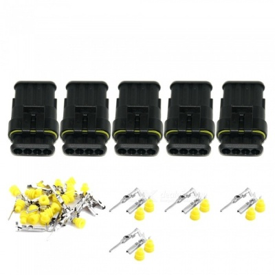 Qook JHIA71-005 5 Sets Kit 4 Pin Way Waterproof Electrical Wire Connectors Plugs