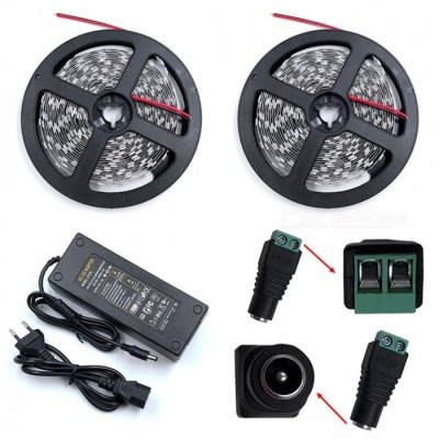ZHAOYAO 144W Green Light 5050 SMD 600-LED Strip Light with 10A EU Plug Power Adapter Charger + DC Female Connector