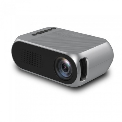 YG320 Portable LCD Projector, Support HD Video for Home Theater Cinema / Game / TV - Silver (EU Plug)