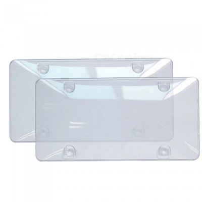Protective Convex Car License Plate Case Frame Cover for 6x12 Inches - Transparent (2PCS)