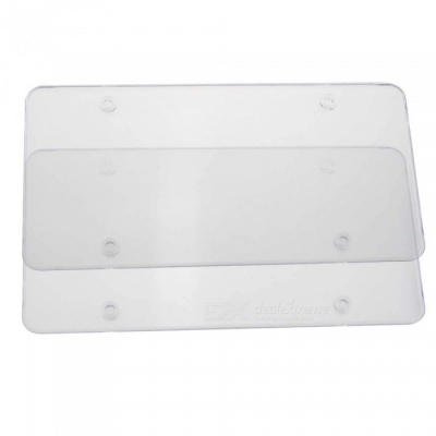 Protective Flat Car License Plate Case Frame Cover for 6x12 Inches - Transparent (2PCS)