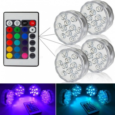 IP67 Waterproof Submersible 10-LED Underwater Light (1Pc Remote Control, 4Pcs Lights)