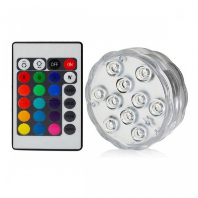 IP67 Waterproof Submersible 10-LED Underwater Light (1Pc Remote Control, 1Pc Light)