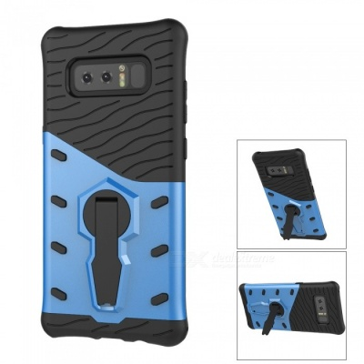 Mini Smile Dual Layer TPU + PC Back Case w/ Holder Stand for Samsung Galaxy Note 8 - Blue