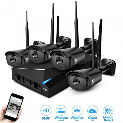 JOOAN 4 Channel 1080P 1.3MP Wi-Fi Wireless Security Camera System Kit - Black (EU Plug)