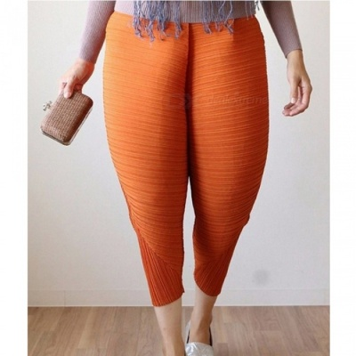 Fashion New Fried Chicken Legs Elastic Band Pants for Women - Orange (S)