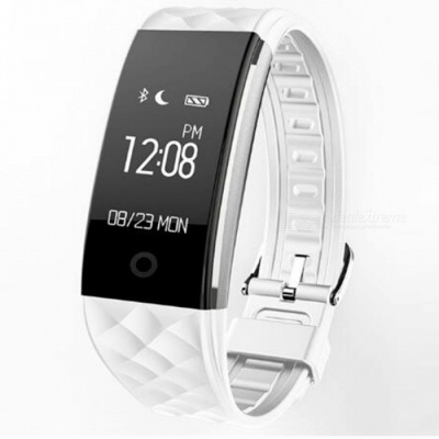 """S2 0.96"""" OLED Bluetooth Smart Band Wristband with Heart Rate Monitor - White"""