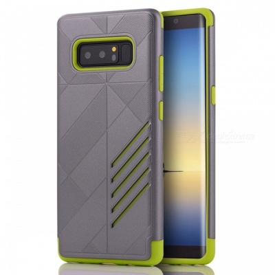 Mini Smile Shock-proof Scratch-resistant Protective Case Dual Layer PC + TPU Cover for Samsung Galaxy Note 8 - Grey + Green