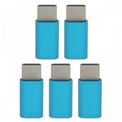 Mini Smile Aluminum Alloy USB 3.1 Type-C to Micro USB Data Sync Charging Adapter for Samsung Galaxy Note 8 - Blue (5PCS)