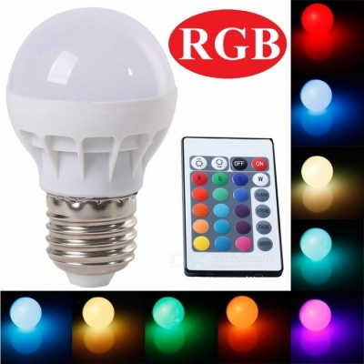 E27 3W Dimmable 16-Color Changing RGB LED Bulb Lampara with IR Remote Controller