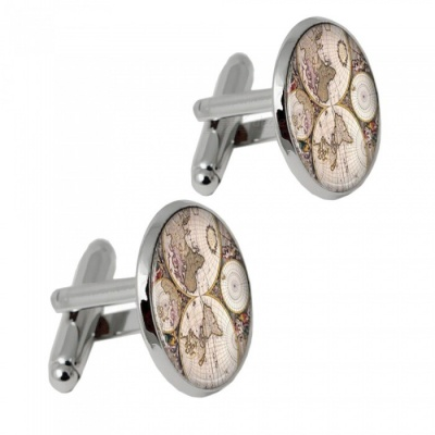 003 Alloy World Map Pattern Men's Cufflinks - Silver + Multicolor (1 Pair)