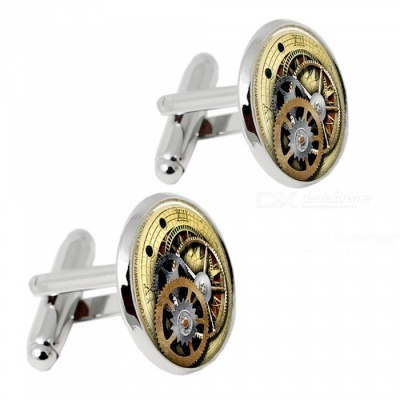 004 Alloy Clock Pattern Men's Cufflinks - Silver + Multicolor (1 Pair)