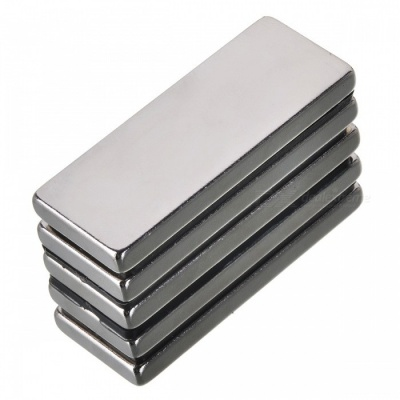 50mm*20mm*5mm Rectangle NdFeB Neodymium Magnet for DIY - Silver (5 PCS)