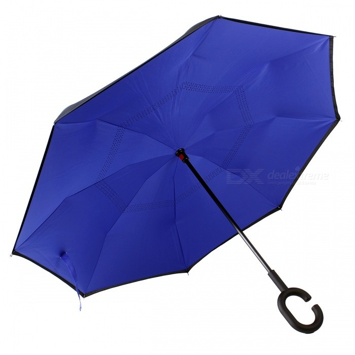 C-Handle Double Layer Windproof Inverted Reverse Travel Umbrella for Car and Outdoor Use - Blue + Black