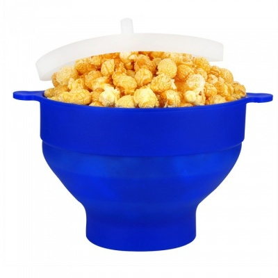 KICCY Silicone Microwave Popcorn Popper Bowl - Blue