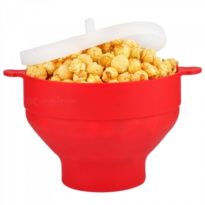 KICCY Silicone Microwave Popcorn Popper Bowl - Red