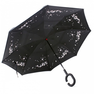 C-Handle Double Layer Windproof Inverted Reverse Travel Umbrella for Car and Outdoor Use - Cherry Blossoms Style