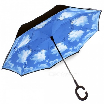 C-Handle Double Layer Windproof Inverted Reverse Travel Umbrella for Car and Outdoor Use - Blue Sky and White Clouds Style
